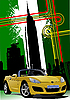 Abdeckung für Broschüre mit New York und gelbe Cabrioleter