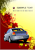 Vector clipart: Autumnal background with car