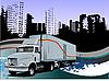 城市设计与货车 | 向量插图