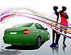 Vector clipart: Car sedan and two girls