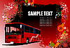 Vector clipart: Grunge hi-tech background with red bus