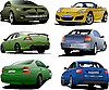 Vector clipart: Six cars