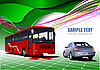 Vector clipart: green background with bus and car.
