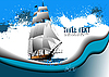 Vector clipart: Grunge abstract background with sail ship