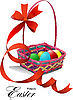 Vector clipart: Basket with Easter eggs.