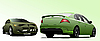 Vector clipart: Two green cars sedan on the road.