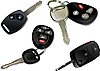 Vector clipart: Four Car keys with remote control over white