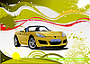 Green and Yellow grunge background with cabriolet