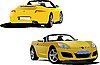 Vector clipart: Yellow cabriolet on the road.