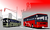 Urban silhouette and buses