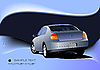 Vector clipart: Abstract blue background with car sedan