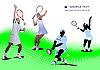 Vector clipart: Four Tennis players.