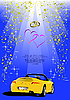 Blue Valentine`s Day background with car