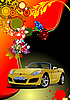 Vector clipart: Floral background with cabriolet car