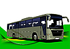 Vector clipart: Abstract green wave background with bus