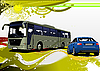 grunge background with bus and car