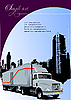Cover for brochure with urban silhouette and lorry