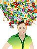 Vector clipart: woman with flowers