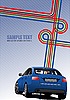 Vector clipart: Blue Cover for brochure with junction and blue car