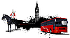 Grunge banner with London and bus.