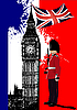 Vector clipart: Poster with Big Ben and Britain flag