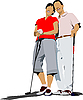 Vector clipart: Couple golfers in iron club.