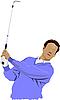 Golfer schlagen Ball mit Eisen-Club.