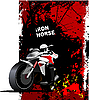 Grunge red poster with motorcycle