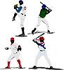 Vector clipart: Four Baseball players.