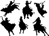 Six rodeo silhouettes.