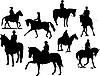 Vector clipart: Eight horse rider silhouettes