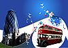 Vector clipart: Two London on blue background.