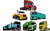 Vector clipart: Colored trucks. Helps