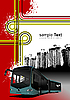 Cover for brochure with urban background and bus i