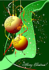 Vector clipart: Christmas - New Year shine card with golden balls