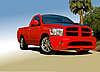 Vector clipart: Red small truck on the road.