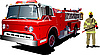 Vector clipart: Fire engine and fireman on.