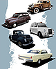 Vector clipart: Five old cars. Retro.