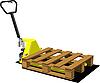 Vector clipart: Hand yellow pallet truck. Forklift