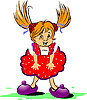 Vector clipart: Red-haired funny little girl