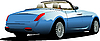 Vector clipart: Blue car cabriolet on the road.