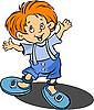 Vector clipart: Red-haired funny little boy.