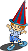 Vector clipart: Red-haired funny little boy with clown hat.