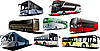 Vector clipart: Eight kinds of buses.