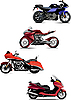 Vector clipart: Four modern motorcycle.