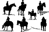 Vector clipart: Horse riders silhouettes.
