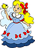 Vector clipart: Beautiful little princess in blue dress.
