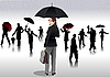 Vector clipart: Men and women with umbrella silhouettes