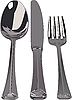 Vector clipart: Silver set - spoon, knife, fork