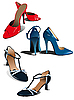 Vector clipart: Three pairs of fashion woman shoes.